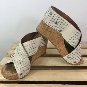Lucky Brand cross elastic strap cork wedge sandal